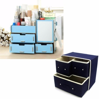 Multifunction Wooden Drawer Style Makeup Cosmetics Jewelry StorageBox Case Rack Organizer (Blue) with Foldable Woven Clothing StorageBox (Dotted Dark Blue)