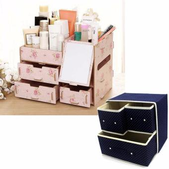 Multifunction Wooden Drawer Style Makeup Cosmetics Jewelry StorageBox Case Rack Organizer Light Pink (Floral Design) with FoldableWoven Clothing Storage Box (Dotted Dark Blue)