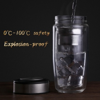 New 350ML Double Water Bottle Car Mounted Scald Proof Glass Bottle For Water With Stainless Steel Filter Tea Tumbler male - intl