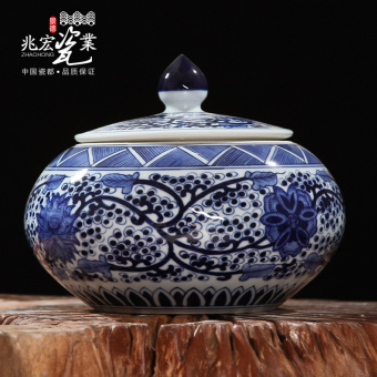 New classical blue and white porcelain high-end furnishings ceramic storage jar