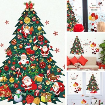 New Fashion Christmas Tree Santa Claus Bedroom Living RoomRemovable Decorative Wall Stickers - intl