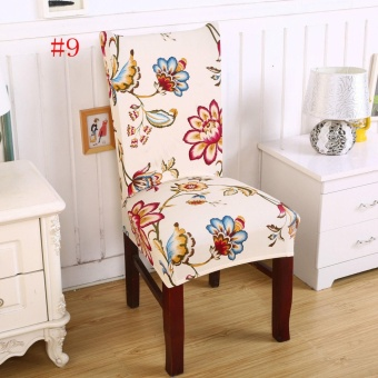 New Floral Print Chair Covers Home Dining Multifunctional Spandex Seat Covers Chair Cover 9# -