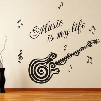 OH Music is my life Guitar Pattern Vinyl Decal Sticker Wall Decals Home Decor