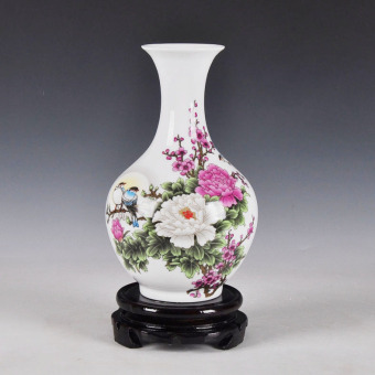 Old-style blue and white porcelain vase
