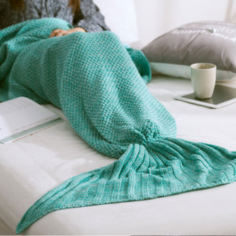 PAlight Handmade Knitted Mermaid Tail Blanket (Green M)
