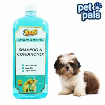 Papi 500mL Aqua Scent Groom and Bloom Dog Shampoo and Conditioner (Blue)