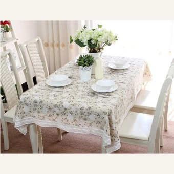 Pastoral Cotton & Linen Table Cloth Dandelion PrintedRectangular Table Cover Lace Edge Tablecloth 90x90cm - intl