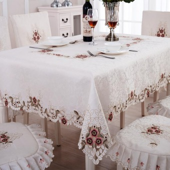 Pastoral European porous chair cover embroidered tablecloth