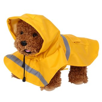 Pet Cat Dog Outdoor Waterproof Jacket Hood Poncho Raincoat(YellowXS) - intl