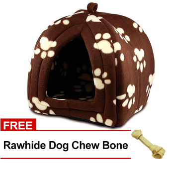 Pet Hut (Brown) with FREE Rawhide Dog Chew Bone