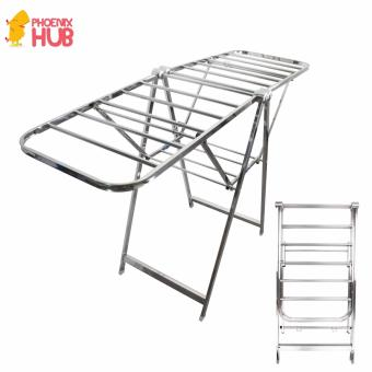 PhoenixHub High Quality 163cm Foldable Stainless Steel Clothes Drying Rack (Silver)
