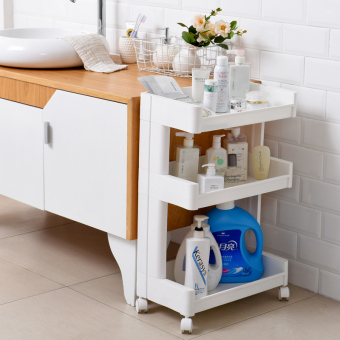 Plastic Floor home to-bathroom shelf