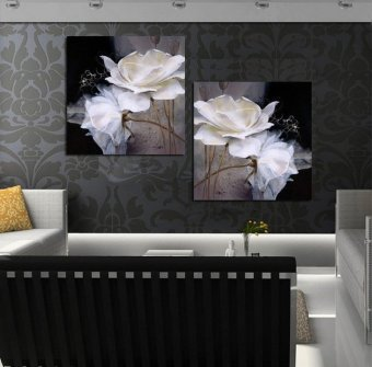 Popular 2 Piece Hot Sell Modern Wall Painting white Flowers HomeDecorative Art Picture Paint on Canvas Prints(No frame)