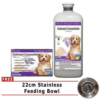 Prolific Oatmeal Organic Soap 130g and Oatmeal ConcentrateSpecialized Shampoo 1000mL With Free Stainless Feeding Bowl