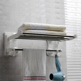 Punched bathroom stainless steel suction kitchen adhesive hook sucker towel rack