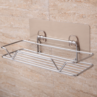 Punched bathroom suction wall-mounted storage rack bathroom shelf