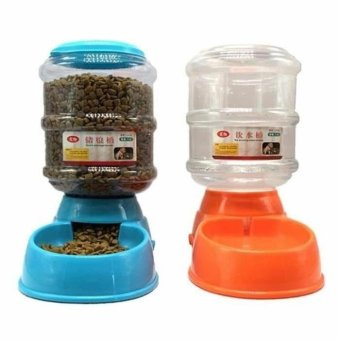 QiuJi Automatic Pet Food Feeder and Waterer Set for Dog Cat Set of 2 Dog Food and Cat Food Dispenser 3.5L - intl