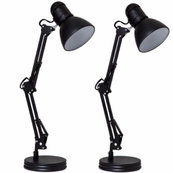 Quality Metal Adjustable Arm Work Desk Lamp Table Lamp (Black) Set of 2