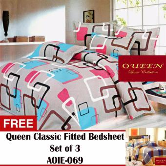 Queen Classic Linen Collection Fitted Bedsheet Set of 3(AOIE-070) with Free Queen Classic Linen Collection Fitted Bedsheet Set of 3(AOIE-069)