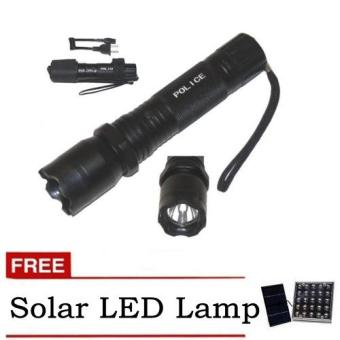 Rechargeable Police Flashlight with Stun Gun Taser (Black) withfree Solar LED Light (Color May Vary)