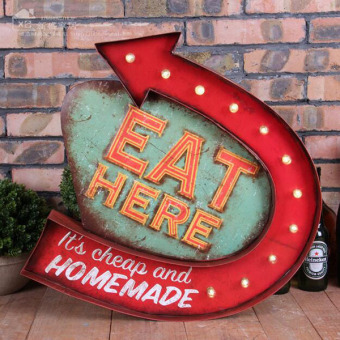 Retro Neon Sign EAT HERE It's Cheap and HOMEMADE Led Neon Signs BarPub Restaurant Wall Decorations Vintage Metal Plates 48x46x5cm -intl
