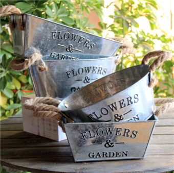 Retro rope iron American flower pot metal flower pot