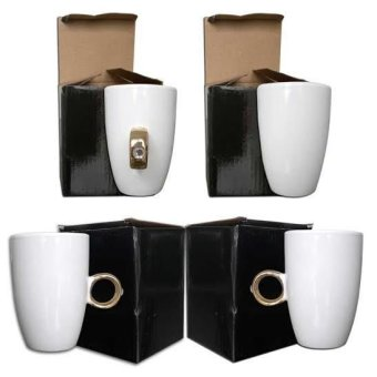Ring Mug Set of 4 (White/Gold)