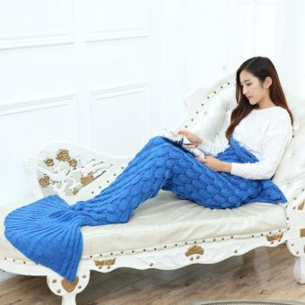 Royal Blue 140x70cm Sleeping Bag Knitted Mermaid Tail Blanket Fish Scales Style for Adult Kids - intl
