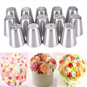 Russian Icing Piping Nozzles Tips Cake Decorating Sugarcraft PastryTool Silver 2.4*4.5cm - intl