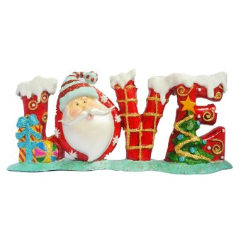 Santa Claus forming word LOVE (Red) Figurine for the Holiday (Madeof Fiberglass Resin) by Everything About Santa (Christmasdecoration and gift suggestion)