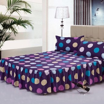 Single/Full/Queen/King Size High Quality Cotton Bed Skirt BedsheetsWave Point-12# Multicolor - intl