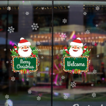 Snow Christmas store glass door window decoration wall stickers