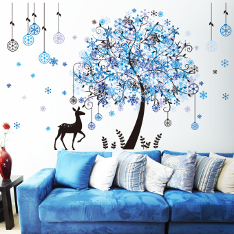 Snow cool on the glass window self-adhesive wallpaper wall adhesive paper