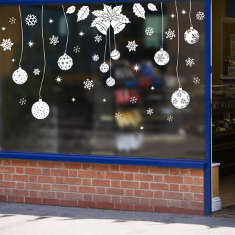 Snow shop mall glass door window Christmas ball wall stickers