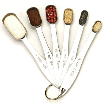 Spring Chef Heavy Duty Stainless Steel Metal Measuring Spoons for Dry or Liquid, Fits in Spice Jar, Set of 6 - intl