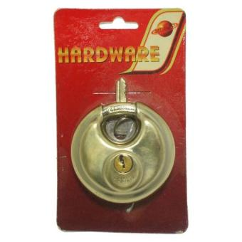 Stainless Steel 70mm Circular Disc Padlock Lock Security (Gold)