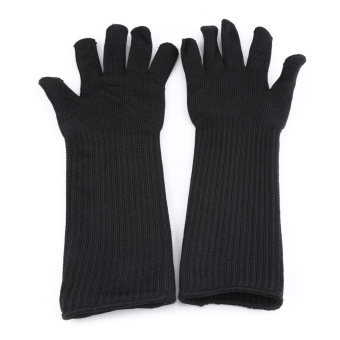 Stainless Steel Wire Cut-resistant Gloves With Long Cuffs HandWrist Forearm Protector - intl