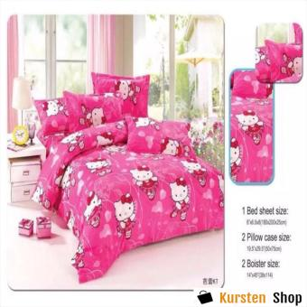 StevenShop 4in1 Bedsheet POLY COTTON HELL0 Kitty Vallet Design(2 pcs pillow case , 1pcs fitted and 1pcs bedsheet)SINGLE
