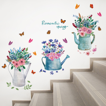 Style Garden flower stickers living room stairs wallpaper wall adhesive paper
