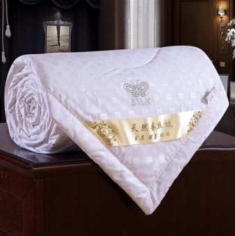 Summer 100% Mulberry Silk Filled Comforter Quilt Duvet CoverletBlanket Doona, Butterfly Flowers White 100 * 150cm - intl
