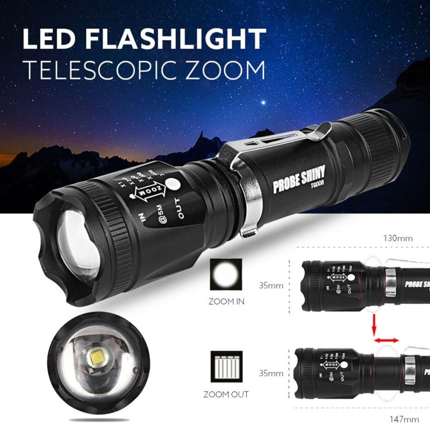 Super Bright Zoomable CREE XM-L T6 LED 18650 Tactical Flashlight Torch Light - intl