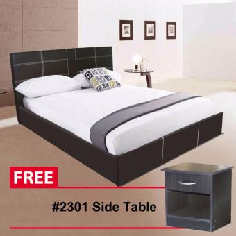 "Tailee Furniture LARRY PU BED Queen Size LEATHER Bed Frame(60""x75"") with #2301 Side Table with drawer Price Philippines"