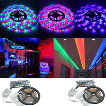 Teamtop Waterproof 5M RGB 300 LED 5050 SMD Light Strip IR Remote 12V 5A Power - intl