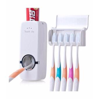Touch Me Automatic Toothpaste Dispenser with Toothbrush Holder(White)