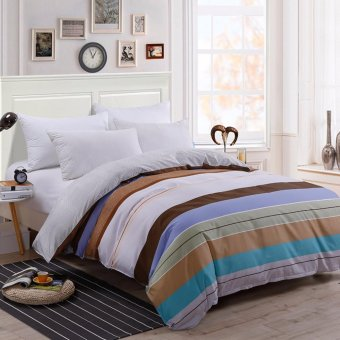 Two-tone Pattern Sanding Cotton Duvet/Quilt Cover Full Queen KingSize - intl