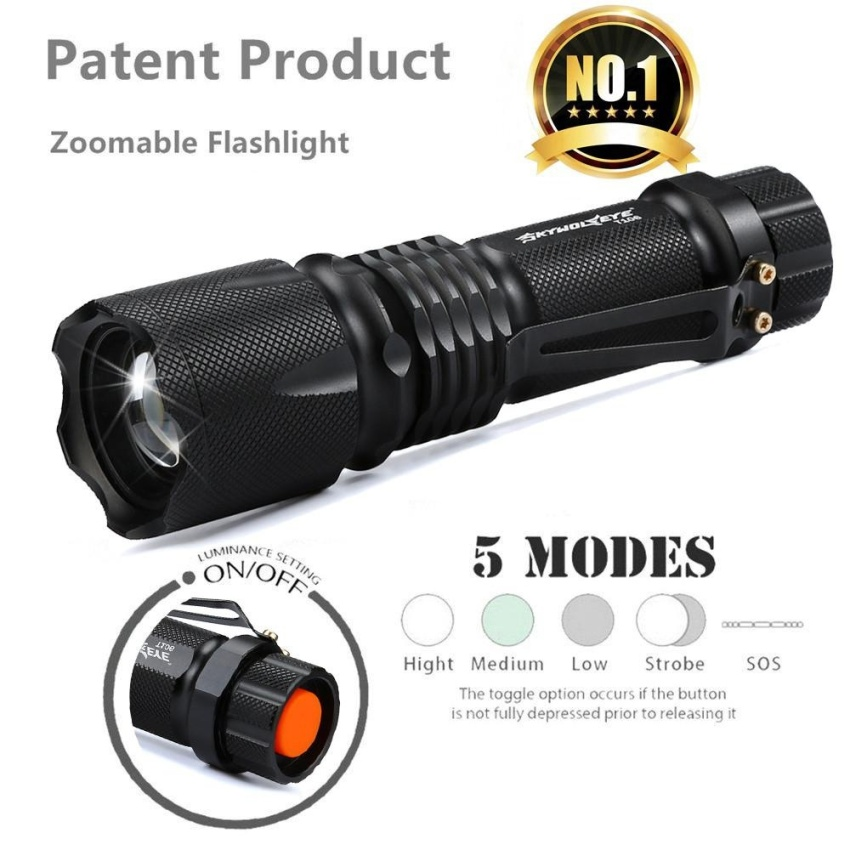 Ultra Bright 5 Mode XML T6 5000LM Zoomable Led Flashlight Torch Lights - intl