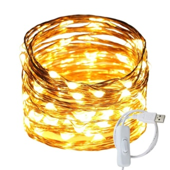 USB Led String Lights, 100 Leds 33Ft/10M Waterproof Copper WireString lights with ON/OFF Switch for Bedroom, Patio, Party,Wedding, Christmas Decorative Light - intl Price Philippines