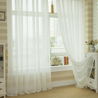 Valances Colors Floral Tulle Voile Door Window Curtain White