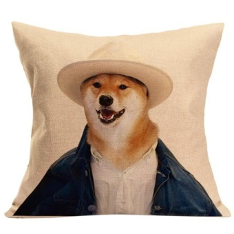 Vintage Cute Dog Pillow Case Sofa Waist Throw Cushion Cover HomeDecor - intl