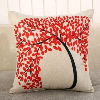Vintage Linen Cotton Cushion Cover Throw Pillow Case Sofa HomeDecor Red Leaves Tree - intl